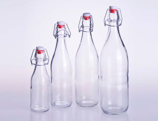 Airtight Round Glass Bottle with Clip Top