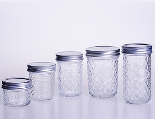 Diamond Surface Glass Mason Jar with Metal Lids