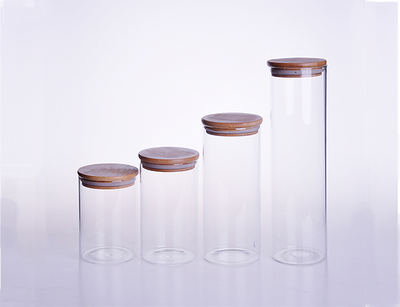 High Borosilicate Glass Jar With Bamboo Lid