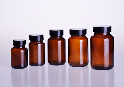 Wideth Mouth Amber Medical Glass Pill Bottle Pharmaceutical