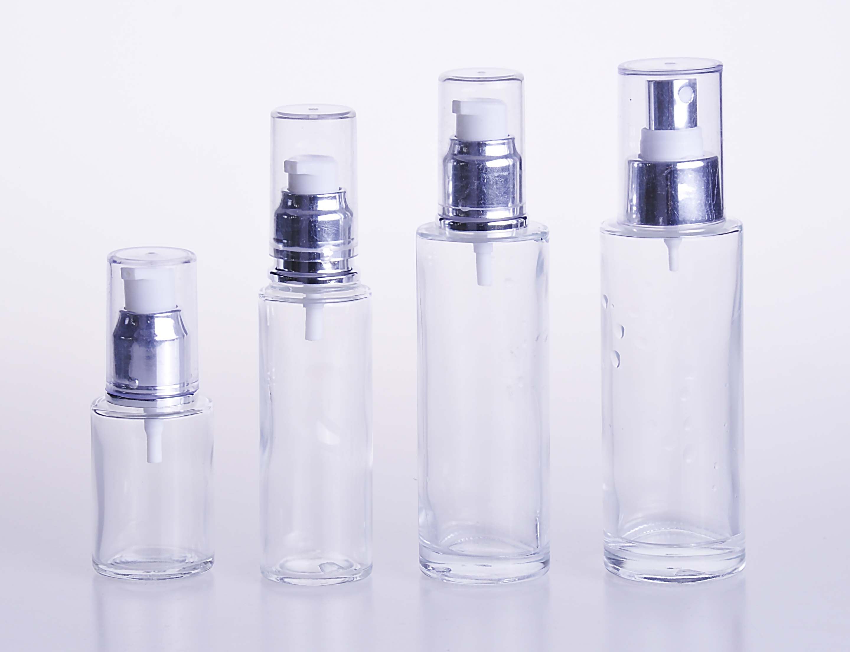 Clear Glass Lotion Bottle with Silver Caps