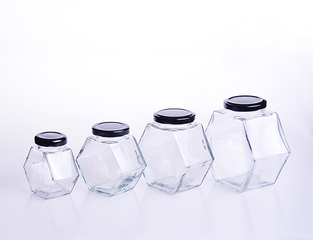 Flat Hexagon Glass Honey Jar