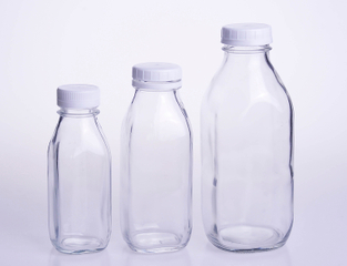 Square Glass Milk Bottle with Plastic Safety Cap